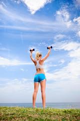 Blond girl exercise