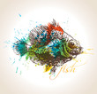The vintage fish with colorful drops and sprays on a beige backg