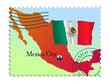 Mexico City - capital of Mexico. Vector stamp