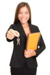 Real estate agent woman giving keys