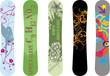 Vector pack of five snowboard deck design illustrations