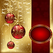 Christmas background with three red balls