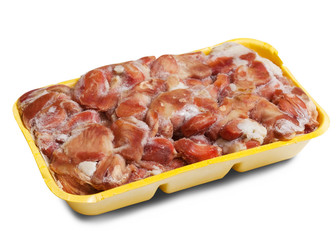 Raw frozen chicken gizzard