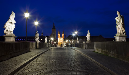 Wurzburg Alte Mainbrucke, city bridge by night