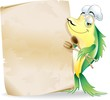 Pesce Cuoco Cartoon-Menu Ristorante-Fish Chef-Vector