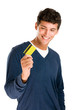 Satisfied man with credit card