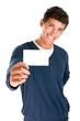 Happy man holding blank card