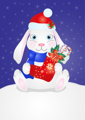 Image of a cute smiling rabbit in Christmas cap