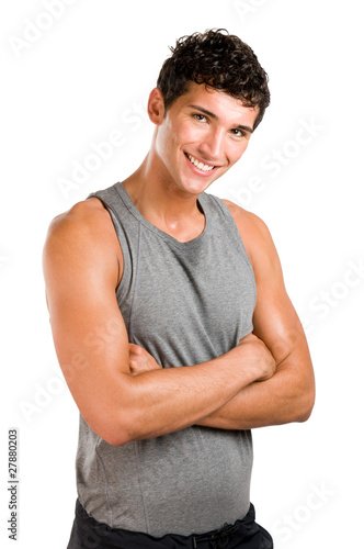 Happy satisfied fitness man