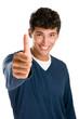 Happy young man thumb up