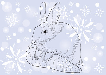 Monochrome image of a rabbit with a carrot