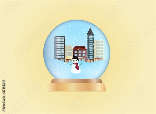 christmas ball-winter scene ( background on separate layer )