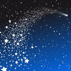 Sternschnuppe mit Sternen - Hintergrund