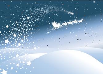 Winterlandschaft mit Sternschnuppe und Rentierschlitten