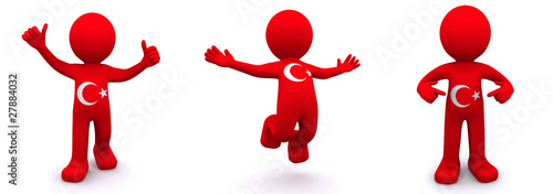 3d character textured with  flag of Turkey