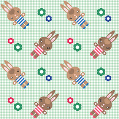 Checked pattern with cute rabbits