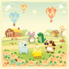 Animals in the countryside. Vector isolated objects.