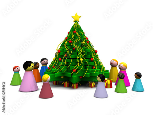 Gruppo multietnico con albero