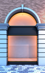 Classical empty storefront with the evening lighting.