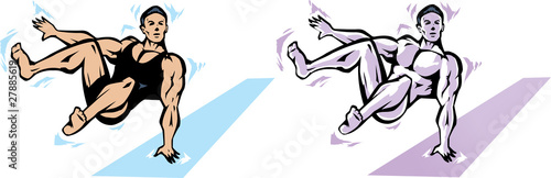 Jumping Gymnast or stylized muscle man.