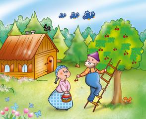 Campagna: coppia di contadini che raccoglie ciliege