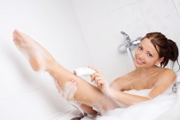 woman with epilator