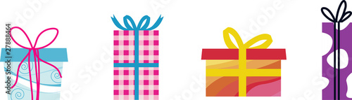 different gift boxes isolated on white
