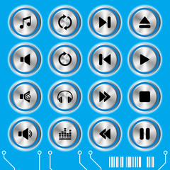 Blue music icons set