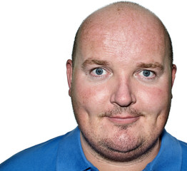 overweight middle age male portrait head close up