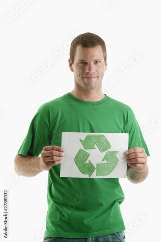 Man holding recycling symbol drawing