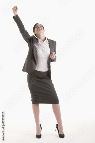 Woman holding fist up