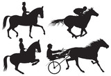 Equestrian sport horses and riders poster
