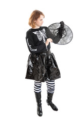 Girl in Halloween witch