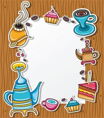 Frame with coffee, tea, cake, yerba mate symbols
