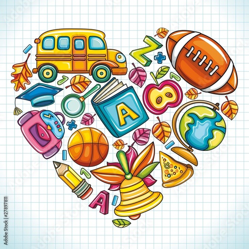 School icons, combined in a shape of a heart.