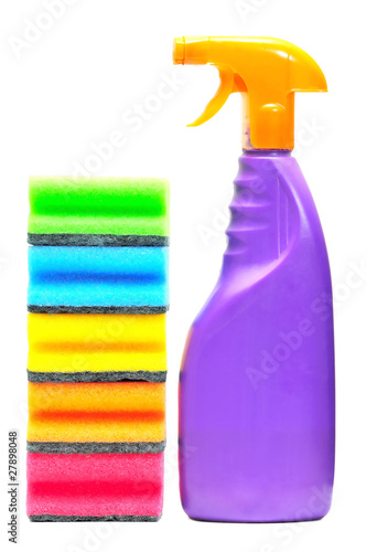 washing liquid and sponges tower