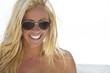 Sexy Beautiful Laughing Blond Girl In Aviator Sunglasses