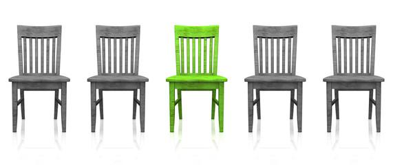 3D Stuhlreihe - Grün grau