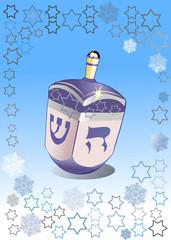 hanukkah dreydl and snowflake