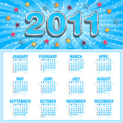Calendar for 2011, weeks start on Sunday