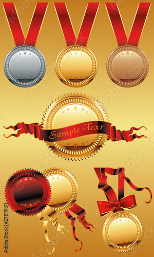 Set of shiny red and gold award medals with ribbons