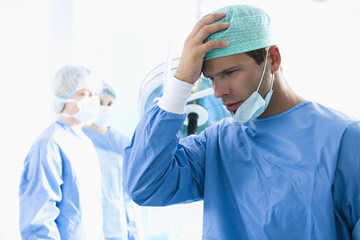 Surgeon under stress in operating room
