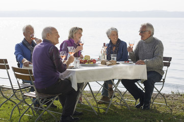 Five senior friends having lunch beside a lake