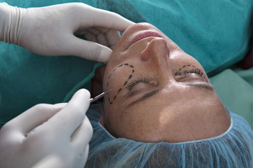 Surgeon's hand with scalpel to patient's face