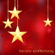 Merry Christmas card with golden stars