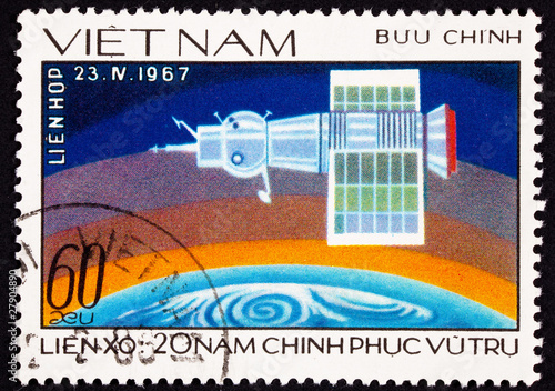 Vietnamese Postage Stamp Showing Soyuz 1 Space Craft Earth