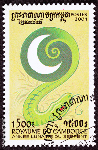 Poster Canceled Cambodian Postage Chinese Year of the Snake 2001 Series