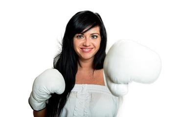 Junge Frau mit Boxhandschuhen 116