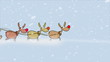 Santa Claus sitting in sled with reindeers