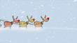 Santa Claus sitting in sled with reindeers